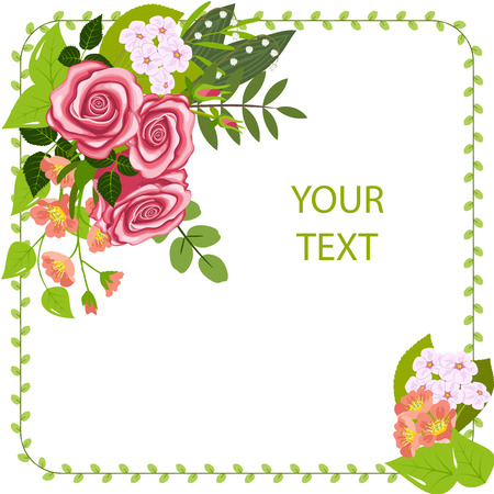 Greeting card, corner flower composition, three roses, branches of flowering dogrose and cherry, lily of the valley flowers and leaves, isolated on white background, vector illustration.
