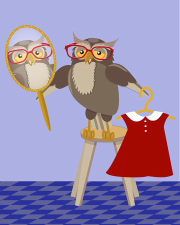 Owl trying on a dress in front of a mirror in the interior of the room, vector illustration. Illustration