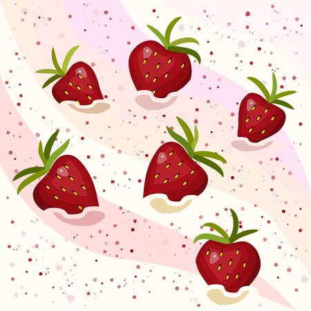Cream with strawberries.