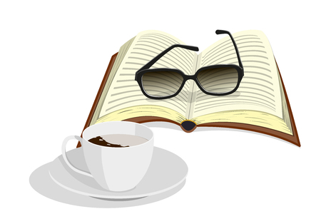 Cup of coffee, glasses and book.