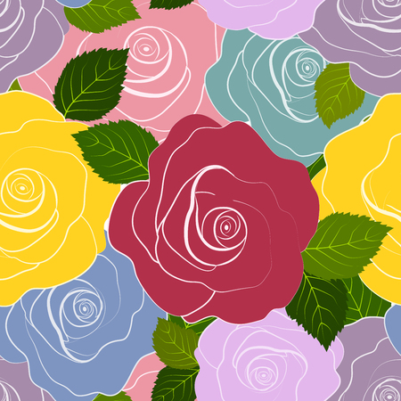 Roses in various colors seamless pattern Illustration