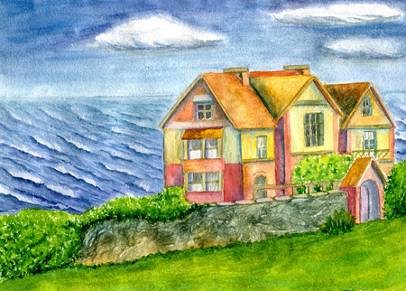 House by the sea watercolor style