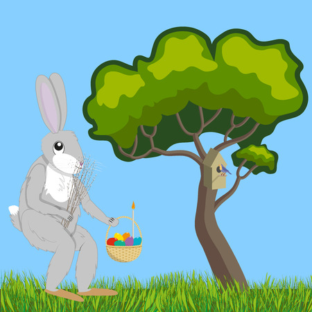 Hare with willow and Easter basket Illustration