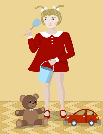 Little girl with toys, a teddy bear, a bucket and a car, vector illustration