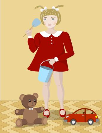 Little girl with toys, a teddy bear, a bucket and a car, vector illustration