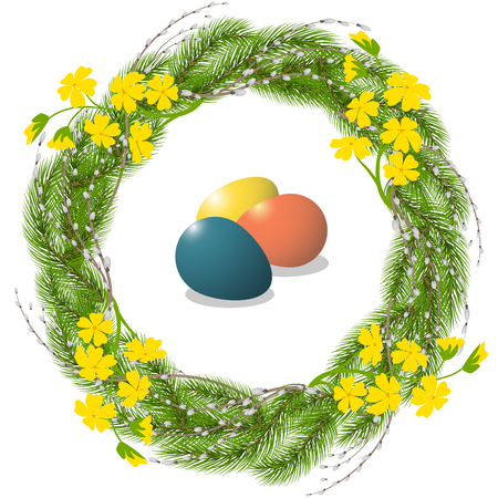 Easter wreath and eggs