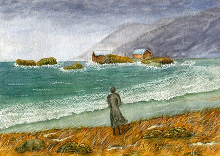 Woman by the stormy sea