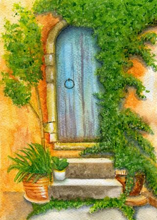 Door of old house entwined with ivy