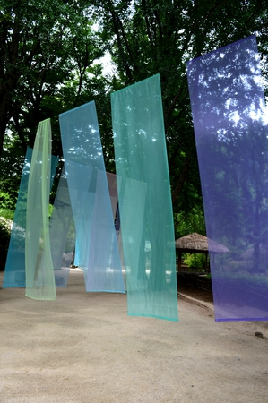 thai silk: new korean silk in old city park Stock Photo