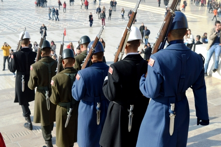 tomb of the unknown soldier: TURKEY. change of guard of honor.
