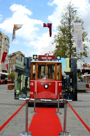 tramway: Turkey. Istanbul. Red tram and red road Editorial