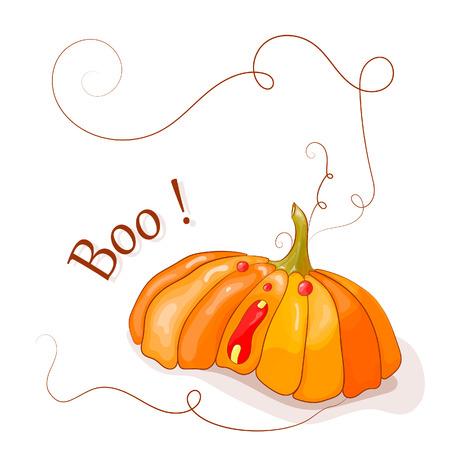 Halloween. Boo. Vector illustration. Big pumpkin with red eyes. Illustration