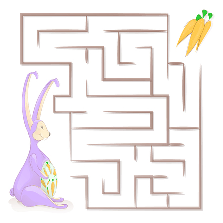 Games for children. Childrens maze. Vector illustrations. Help the rabbit find the carrot. 向量圖像