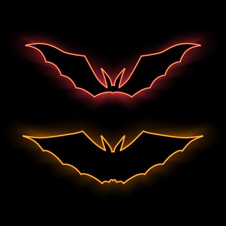Neon symbol. Vector illustration. Glowing brightly the bat. Neon Halloween sign.