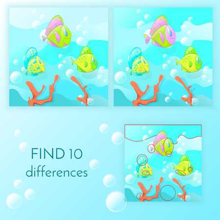 Educational game for kids, find the 10 differences. Funny fish swim on a blue background with bubbles vector illustration, children's tasks.