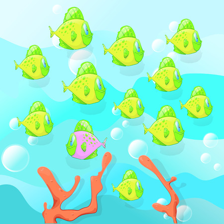 Find a fish that is different from all, educational game for kids, educational test , Vector illustration, childrens task. Colorful fish on a blue background with air bubbles floating.