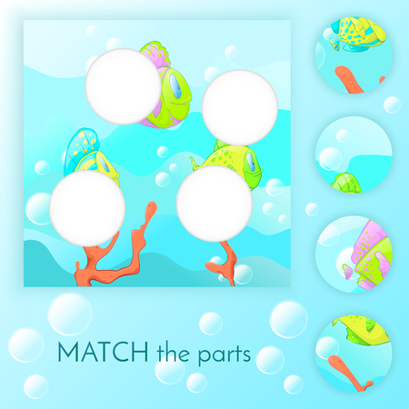 Compliance with childrens educational game. Match of the education. Colorful fish swim blue background with bubbles. Vector illustration. Illustration