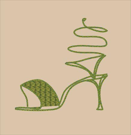serpentine: Green serpentine high-heeled sandals