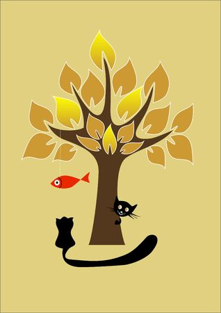 gold fish: two black cats play with gold fish Illustration