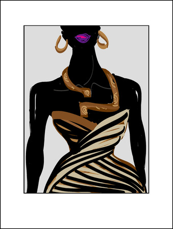 evening dress: Fashion illustration girl black evening dress with wood necklace