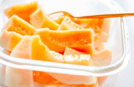 The fresh fruit of hami melon closeup 版權商用圖片