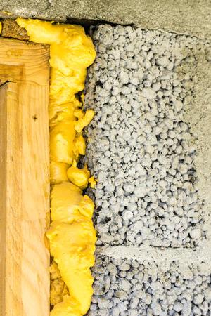 door installed in the block wall with insulation foam 版權商用圖片
