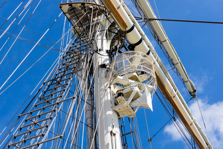 Mast, rigging and ropes on a old wooden sailing ship