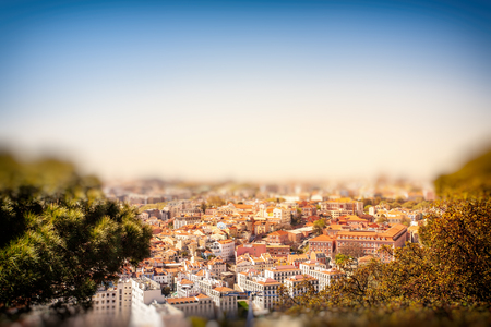 Old Lisbon Portugal steet. cityscape with roofs. Tagus river miraduro viewpoint. Spring and summer. View from sao jorge castle