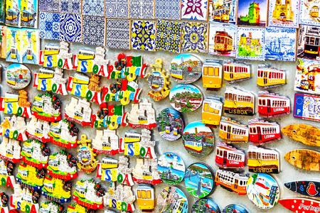 Colorful Ceramic Tiles Magnets Souvenirs Handicrafts Lisbon Portugal. for tourists