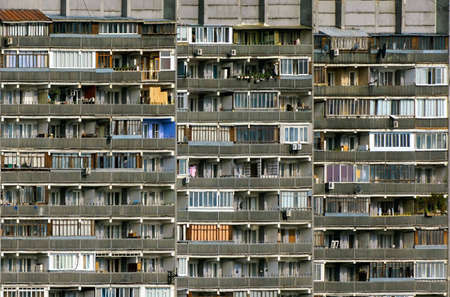 an amazing divercity of windows and balconies on a residential building Stock Photo