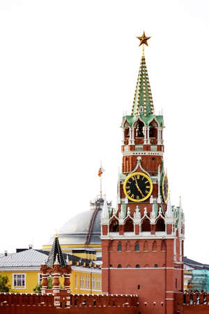 gorbachev: a photo of Spasskaya tower. Red Square. Kremlin Stock Photo