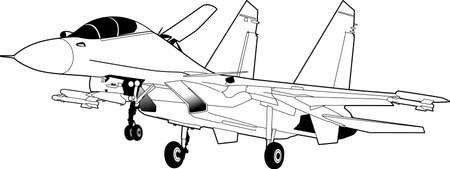 Russische straaljager vliegtuigen SU-30. Vector Illustratie