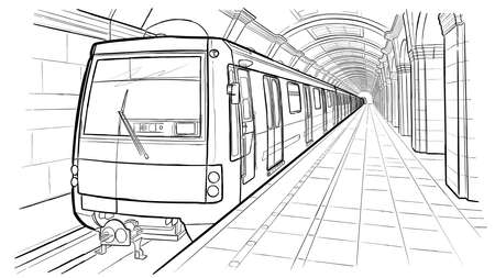 Hand drawn sketch Saint Petersburg subway station