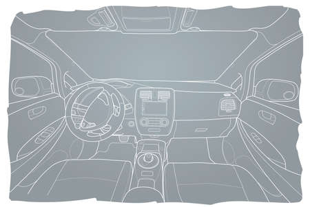 The machine inside. The interior of the electromobile vehicle with automatic transmission. Vector illustration of the lines.