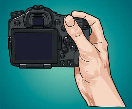 Hand holding professional photo camera Illustration