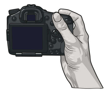 Hand holding professional photo camera.