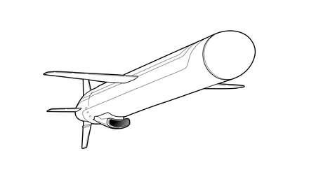 Cruise missile in black outline illustration.