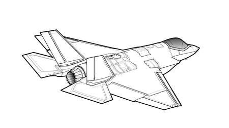 Modern American jet fighter aircraft vector illustration.