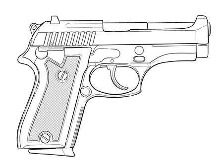 Hand drawn pistol isolated on white. Vector illustration