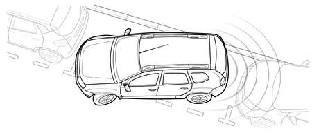 Parking car vector line illustration design.