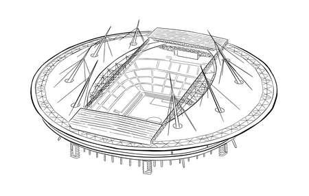 Sketch of the new stadium in Saint-Petersburg. Illustration