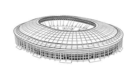 Hand drawn sketch of the main stadium in Moscow. Illustration