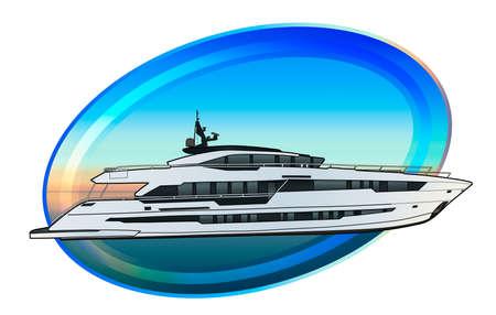 Dibujo técnico de la ilustración de yates de alta velocidad de lujo.