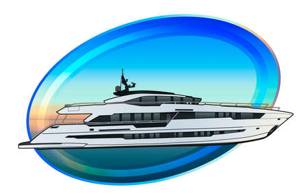 Technical draw of luxury speed yacht illustration