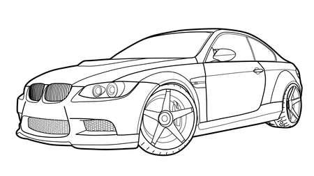 Vector tekenen van een platte sportwagen met zwarte lijnen.