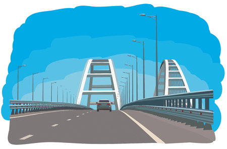 Hand drawn sketch of Crimean bridge