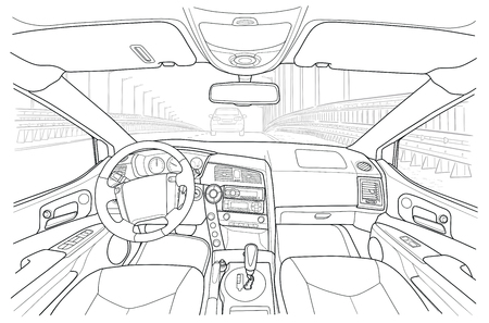 The machine inside. The interior of the vehicle. Vector illustration of the lines. Illustration