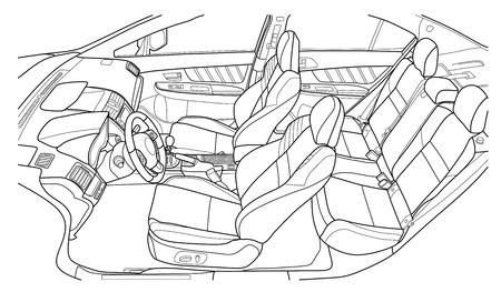 Die Maschine im Inneren. Der Innenraum des Fahrzeugs, Rücksitz. Vektor-Illustration der Linien.