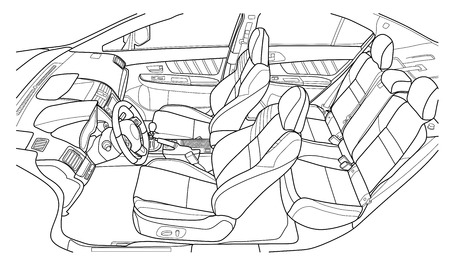 The machine inside. The interior of the vehicle, back seat. Vector illustration of the lines.
