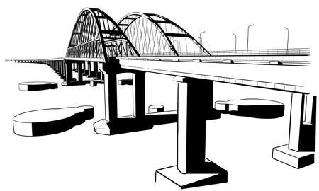 Hand drawn sketch vector illustration of Crimean bridge arks and road